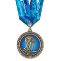 LXC Color Fill Swim Award Medal w/ Multicolor Neck Ribbon