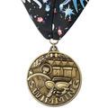 Stock Swim WC Winner's Circle Award Medal w/ Full Color Millennium Neck Ribbon