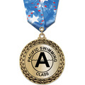 GFL Metallic Swim Award Medal w/ Multicolor Neck Ribbon