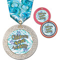 GEM Full Color Swim Award Medal w/ Multicolor Neck Ribbon