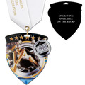 CSM Shield Swim Award Medal w/ Satin Neck Ribbon - ENGRAVED