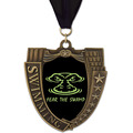 MS Mega Shield Full Color Swimming Award Medal w/ Grosgrain Neck Ribbon