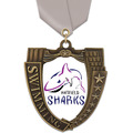 MS Mega Shield Full Color Swimming Award Medal w/ Satin Neck Ribbon