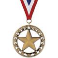 Rising Star Swim Award Medal with Red/White/Blue or Year Grosgrain Neck Ribbon