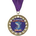 RS14 Full Color Swim Swim Award Medal with Grosgrain Neck Ribbon