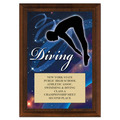 Diving Award Plaque - Cherry Finish