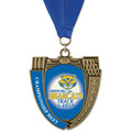MS Mega Shield Track & Field Award Medal w/ Any Grosgrain Neck Ribbon