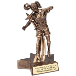 FEMALE SOCCER SUPERSTAR SERIES RESIN TROPHY