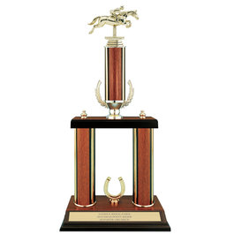 "20"" Walnut Finished Award Trophy w/ Wreath & Trim"