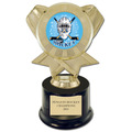 "7"" Black Round Base Sports Trophy w/ Insert Top"