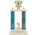 "15"" White Marble Sports Trophy w/ Trim & Insert Top"