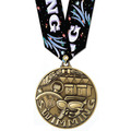 WC Swim Medal w/ Swim Burst Multicolor Neck Ribbon