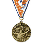 WC Winner's Circle Basketball Award Medal w/ Grosgrain Neck Ribbon