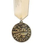 Winner's Circle School Medal w/ Any Satin Neck Ribbon