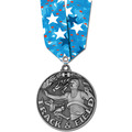 Winner's Circle School Medal w/ Any Multicolor Neck Ribbon