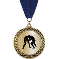 GFL Metallic Wrestling Award Medal w/ Grosgrain Neck Ribbon