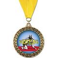 GFL Full Color Wrestling Award Medal w/ Grosgrain Neck Ribbon