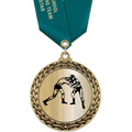 GFL Metallic Wrestling Award Medal w/ Satin Neck Ribbon