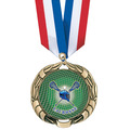XBX Full Color Sports Award Medal w/ Specialty Satin Neck Ribbon