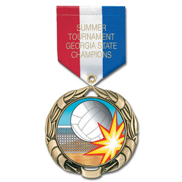 XBX Full Color Sports Award Medal w/ Any Satin Drape Ribbon