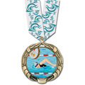 XBX Full Color Swim Medal w/ Any Multicolor Neck Ribbon