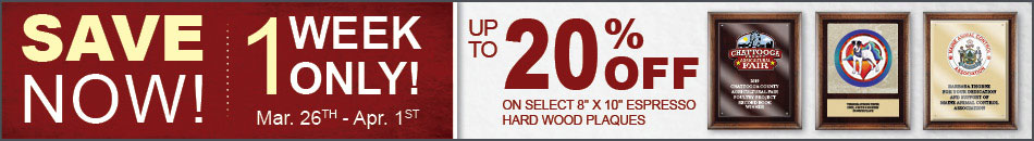 1 Week Only - Up To 20% Off Select Espresso Plaques