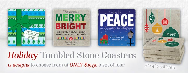 Holiday Tumbled Stone Coasters