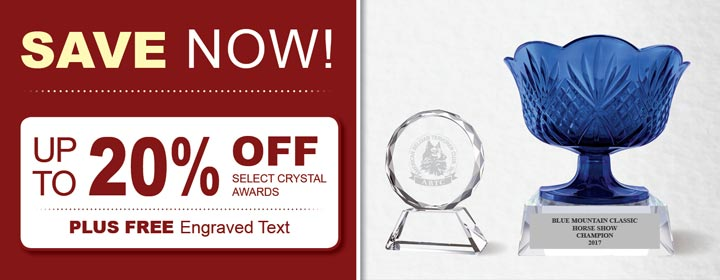 SALE!  Up to 20% Off Select Crystal Awards