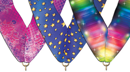 Neck ribbon choices for custom award medals