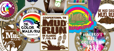 Custom Color Run/Mud Run Award Medals