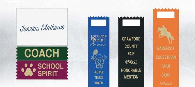 Hot Stamped Custom Name Badge Ribbons