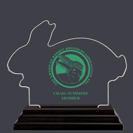 Rabbit Shaped Acrylic Award Trophy w/ Black Base