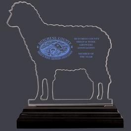 Sheep Shaped Acrylic Award Trophy w/ Black Base