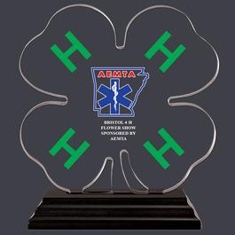 4-H Clover Shaped Acrylic Award Trophy w/ Black Base