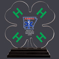 4-H Clover Shaped Acrylic Award Trophy w/ Black Base