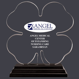 Clover Shaped Acrylic Award Trophy w/ Black Base