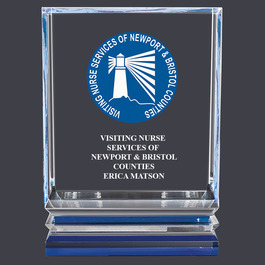 Full Color Acrylic Award Trophy w/ Blue Reflective Base