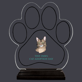 Full Color Large Paw Print Shaped Acrylic Trophy w/ Black Base