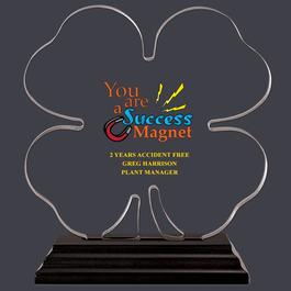 Full Color Clover Shaped Acrylic Award Trophy w/ Black Base