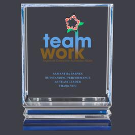 Acrylic Award Trophy w/ Blue Reflective Base