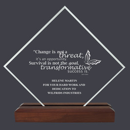 Diamond Acrylic Award Trophy w/ Walnut Base