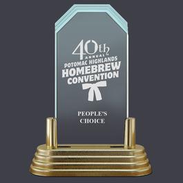 Pop-In™ Jade Acrylic Award Trophy w/ Pedestal Base