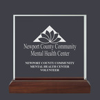 Square Acrylic Award Trophy w/ Walnut Base