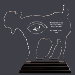 Engraved Goat Shaped Acrylic Award Trophy w/ Black Base