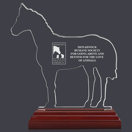 Engraved Horse Shaped Acrylic Award Trophy