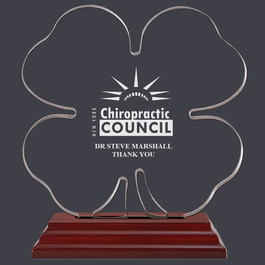 Engraved Clover Shaped Acrylic Award Trophy