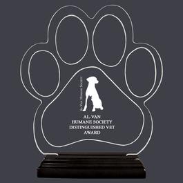 Engraved Large Paw Print Shaped Acrylic Trophy w/ Black Base