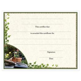 Stock Certificate w/ Gardening Design | HBC