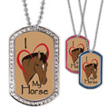 Full Color GEM I Love My Horse Dog Tag