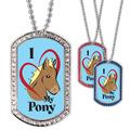 Full Color GEM I Love My Pony Dog Tag